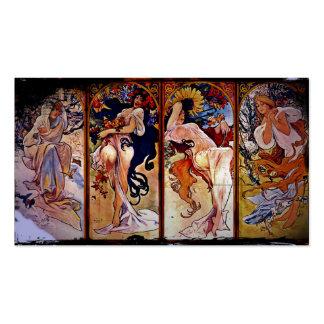 Cuatro estaciones personificadas por las mujeres tarjetas de visita