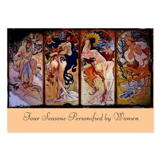 Cuatro estaciones personificadas por las mujeres tarjetas de visita grandes