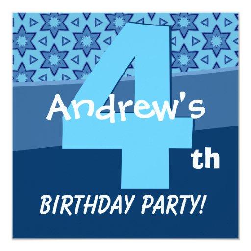 """Cuatro estrellas azules del cumpleaños año para el invitación 5.25"""" x 5.25"""""""