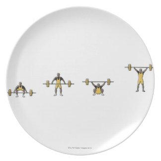 Cuatro etapas de barbell de elevación del platos de comidas