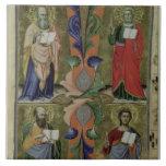 Cuatro evangelistas, siglo XIV (vitela) Azulejo Cuadrado Grande