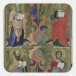 Cuatro evangelistas, siglo XIV (vitela) Pegatina Cuadrada