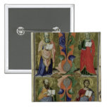 Cuatro evangelistas, siglo XIV (vitela) Pin Cuadrada 5 Cm