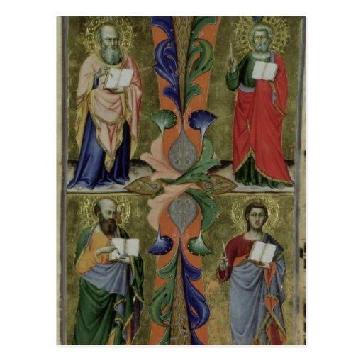 Cuatro evangelistas, siglo XIV (vitela) Tarjetas Postales