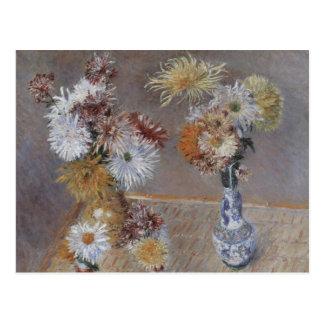 Cuatro floreros de crisantemos por Caillebotte Tarjeta Postal