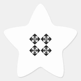 Cuatro flores negras elegantes. En blanco Pegatina En Forma De Estrella