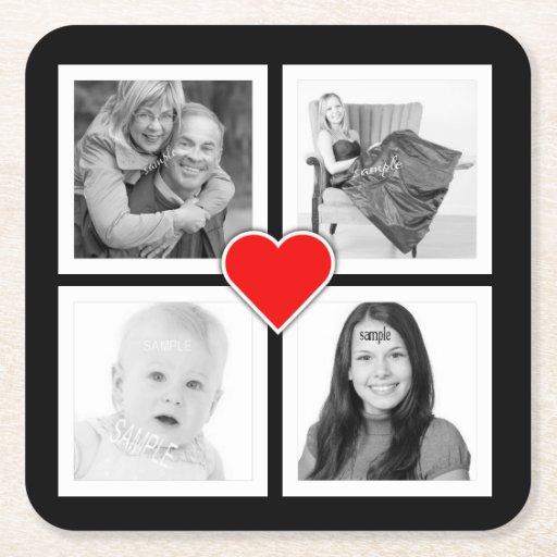 Cuatro fotos especiales con el corazón rojo