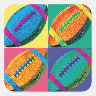 Cuatro fútboles en diversos colores pegatina cuadrada