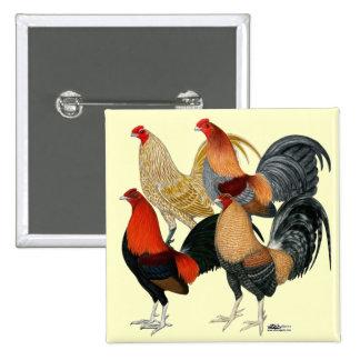 Cuatro gallos de pelea pin cuadrada 5 cm