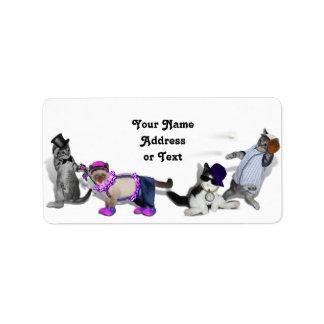 Cuatro gatitos en el juego etiqueta de dirección