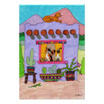 Cuatro gatos en una casa de Adobe púrpura Impresiones