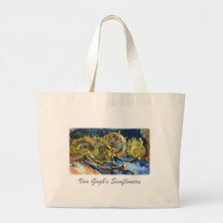Cuatro girasoles cortados de Van Gogh Bolsa De Tela Grande