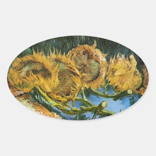 Cuatro girasoles cortados, Vincent van Gogh Calcomanías De Ovales