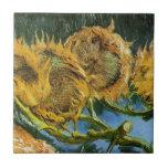 Cuatro girasoles cortados, Vincent van Gogh Tejas