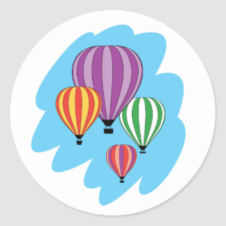 Cuatro globos coloridos del aire caliente pegatina redonda