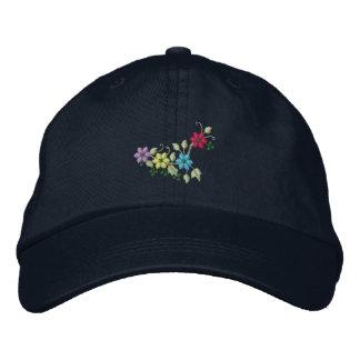 Cuatro gorras bordados de las flores y de las muje gorra bordada