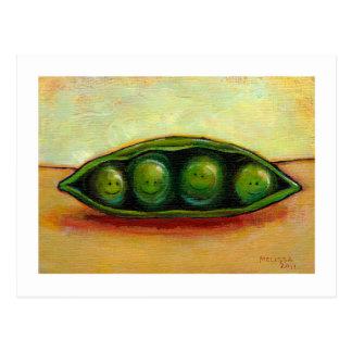 Cuatro guisantes en un arte original único de la d postales