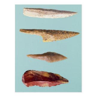 Cuatro herramientas del pedernal postales