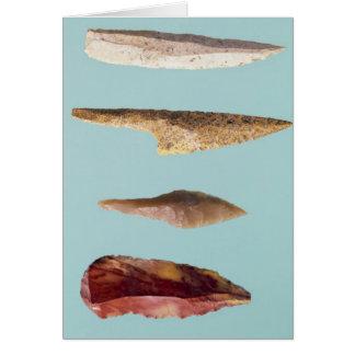 Cuatro herramientas del pedernal tarjeta de felicitación