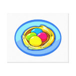 cuatro huevos coloreados oval.png después azul impresiones en lona estiradas