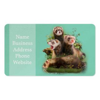Cuatro hurónes en su hábitat salvaje tarjetas de visita