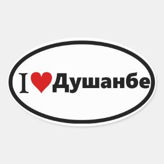 CUATRO I [corazón] Dushanbe Pegatina Ovalada