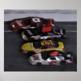 Cuatro impresiones anchas de NASCAR