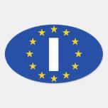 """CUATRO Italia """"yo"""" bandera de unión europea Pegatinas De Óval Personalizadas"""