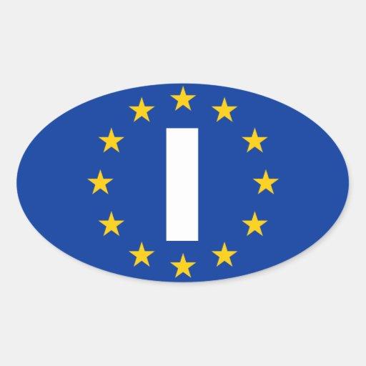 """CUATRO Italia """"yo"""" bandera de unión europea Pegatina Ovalada"""