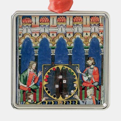 Cuatro jugadores árabes del backgammon adorno cuadrado plateado