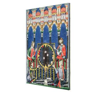 Cuatro jugadores árabes del backgammon impresión en lienzo