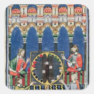 Cuatro jugadores árabes del backgammon pegatina cuadrada