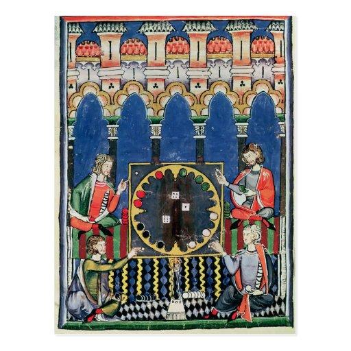 Cuatro jugadores árabes del backgammon postal