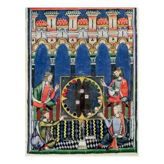 Cuatro jugadores árabes del backgammon postales