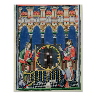 Cuatro jugadores árabes del backgammon póster