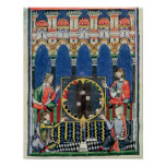 Cuatro jugadores árabes del backgammon posters