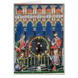 Cuatro jugadores árabes del backgammon tarjeta de felicitación