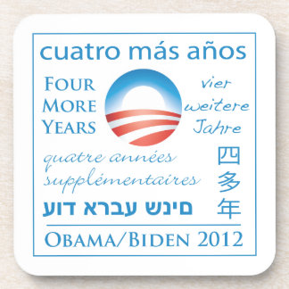 Cuatro más años para Obama/Biden Posavasos De Bebida