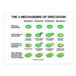 Cuatro mecanismos de Speciation (evolución) Tarjeta Postal