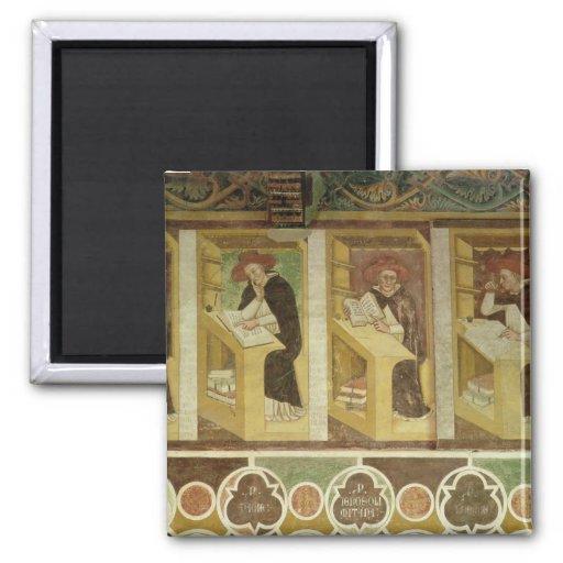 Cuatro monjes dominicanos en sus escritorios, del  imán cuadrado