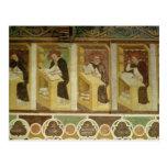 Cuatro monjes dominicanos en sus escritorios, del postales