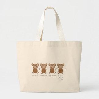 cuatro monos sabios bolsa tela grande