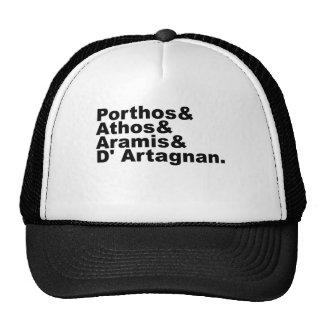 Cuatro mosqueteros - Porthos Athos Aramis Gorros Bordados