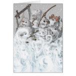 Cuatro muñecos de nieve de la tarjeta de la apocal