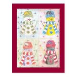 Cuatro muñecos de nieve postal