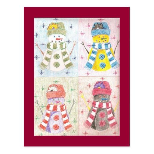Cuatro muñecos de nieve postales