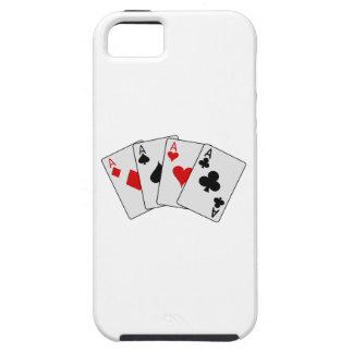 Cuatro naipes del póker de los as (cuatro de una iPhone 5 cobertura