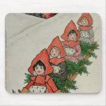 Cuatro niñas en un trineo alfombrilla de ratones