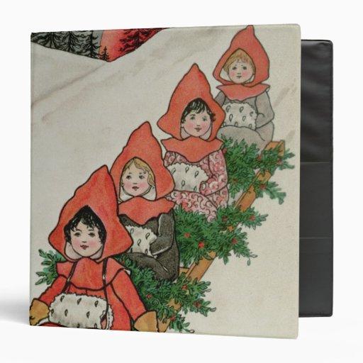 """Cuatro niñas en un trineo carpeta 1 1/2"""""""