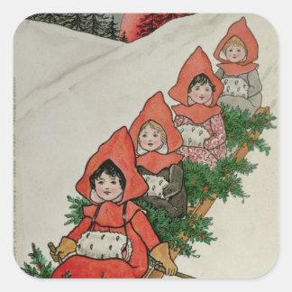 Cuatro niñas en un trineo pegatina cuadrada